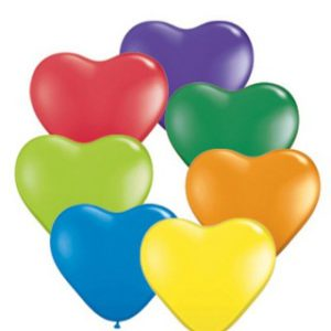 Ballons latex cœur Multi-couleurs