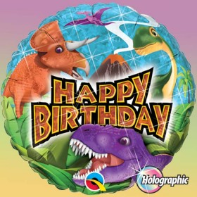 Ballon aluminium happy birthday dinosaure