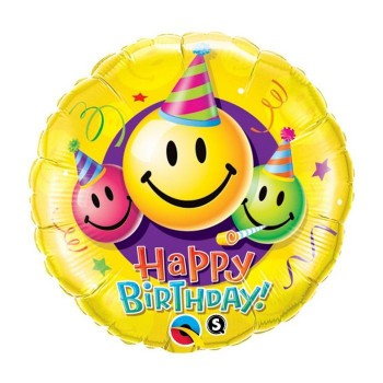 Ballon aluminium happy birthday smile la ballonnerie