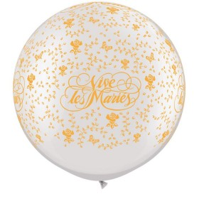 Ballons latex 80 cm vive les mariés blanc et orange