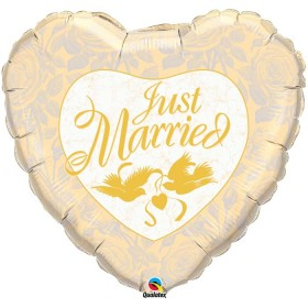 Ballons mylar just married ivoire